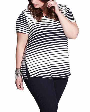 Plus Size Striped Tee with Side Slits