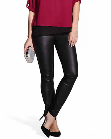 Petite Original Comfort Leggings with Faux Leather Front