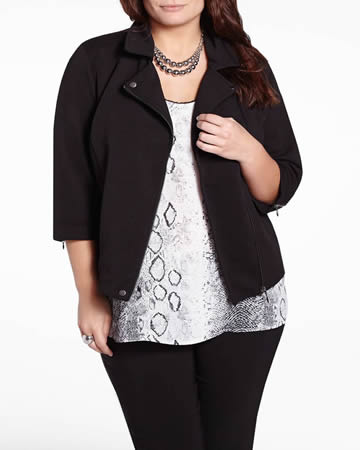 Plus Size 3/4 Sleeve Jacket