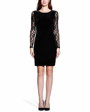 Lace and Velvet Sheath Dress - ONLINE EXCLUSIVE