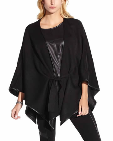 Tie-Front Poncho with Faux Leather Trim
