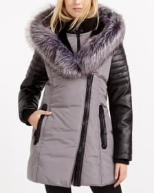 Winter Coat with Faux Leather Trim