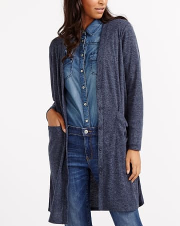 Long Button-Down Cardigan