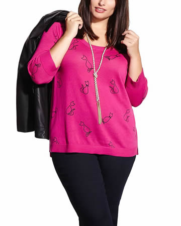 Plus Size 3/4 Sleeve Sweater