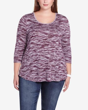 Plus Size 3/4 Sleeve Printed T-Shirt
