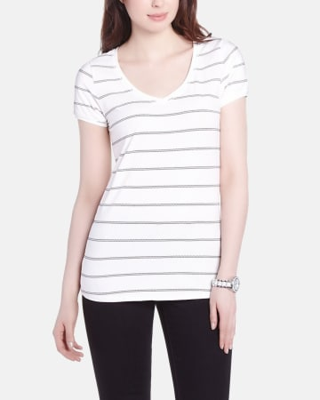 V-Neck Striped Tee