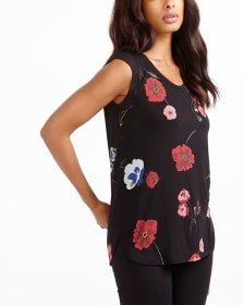 Sleeveless Mix Media Printed Top
