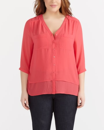 Plus Size Double Layer Blouse