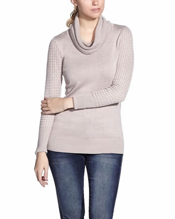 Perforated Sleeve Sweater