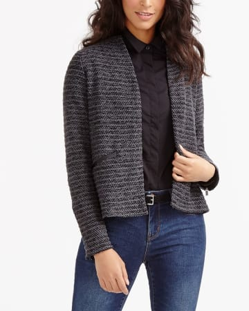 Open Front Textured Cardigan
