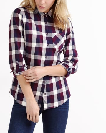 ¾ Sleeve Plaid Shirt