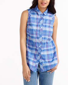 Plaid Sleeveless Blouse