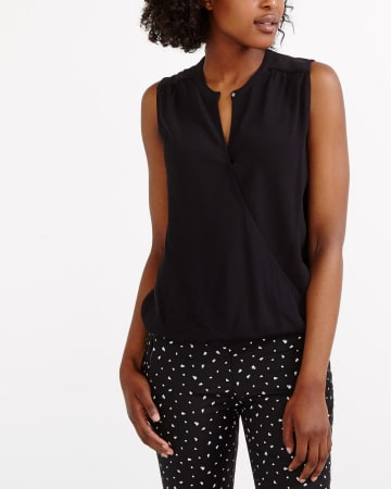 Sleeveless Crossover Blouse