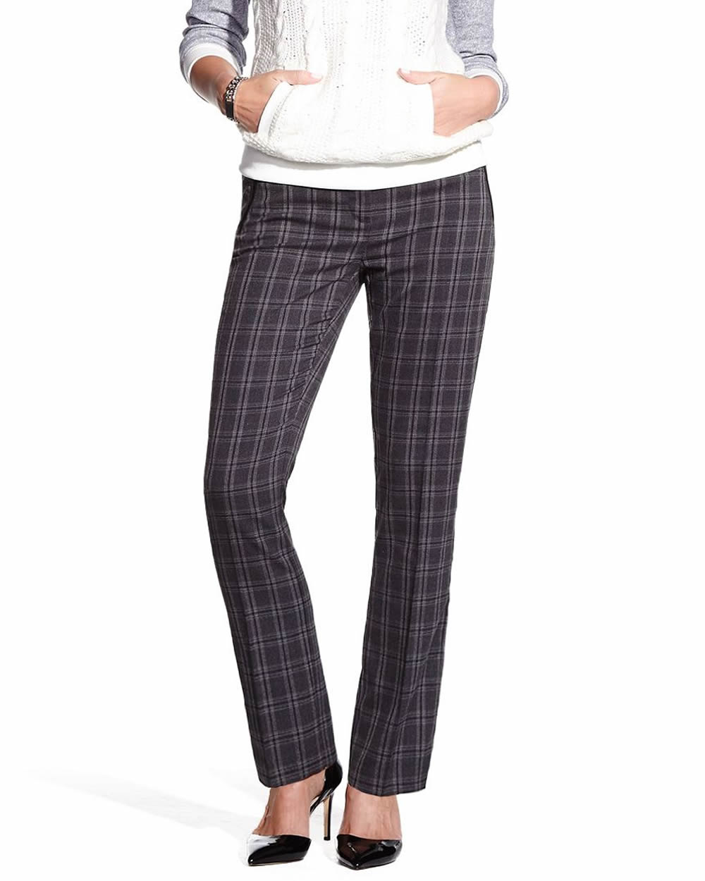 Perfect WOMENS PESERICO DRESS PANTS SIZE 42 WOOL NYLON BLUE GRAY PLAID MADE IN