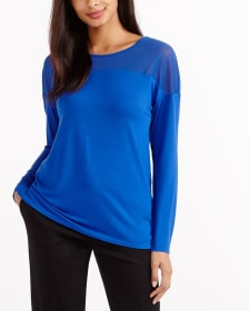 Mix Media Solid Mesh Top