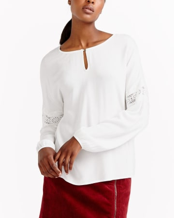 Long Sleeve Top with Crochet Inserts