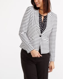 Long Sleeve Striped Blazer