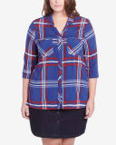 Plus Size 3/4 Sleeve Plaid Shirt