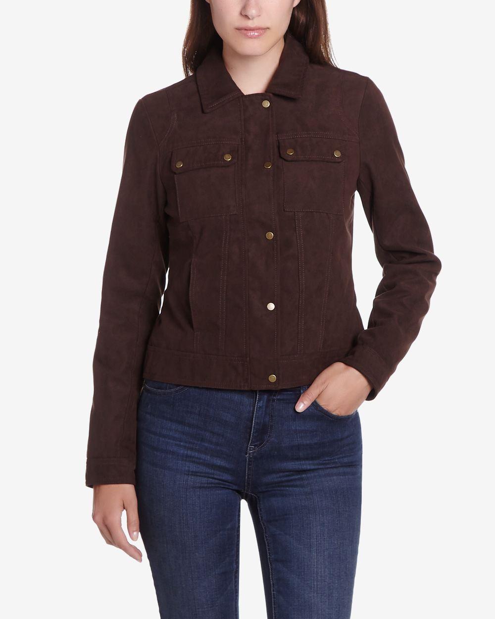 Faux suede jacket women