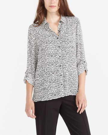Printed Blouse with Adjustable Sleeves