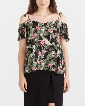 Off The Shoulder Printed Blouse