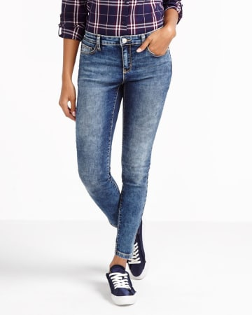 Petite Marble Wash Skinny Jeans