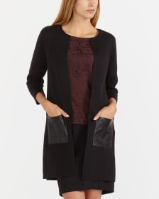 Open Cardi with Faux Leather Pockets