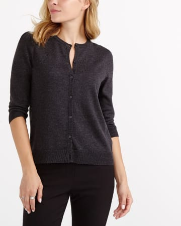 R Essentials ¾ Sleeve Solid Cardi