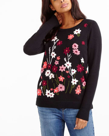 Allover Embroidered Sweater