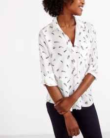 ¾ Adjustable Sleeve Printed Shirt