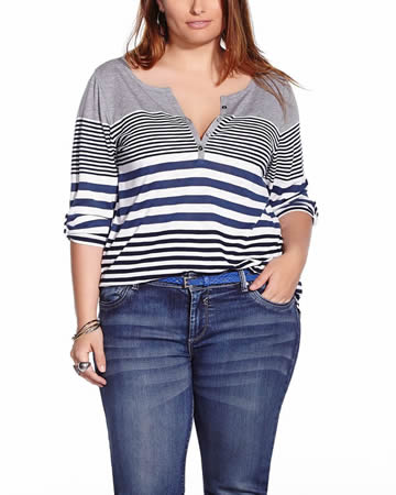 The Plus Size Striped Henley T-Shirt