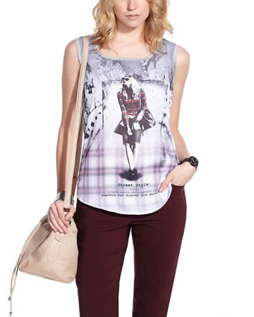 Sleeveless Printed Tee