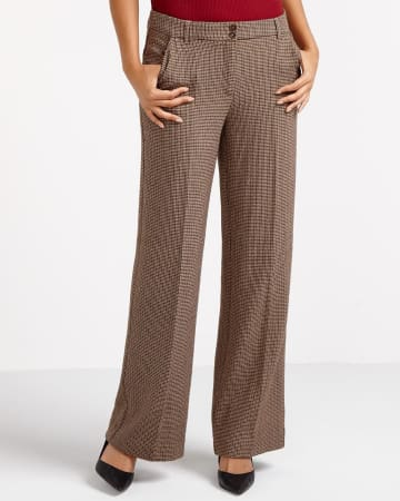 Petite Houndstooth Wide Leg Pants