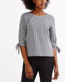 ¾ Sleeve Gingham Blouse