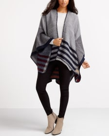 Poncho with Stripe Details