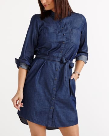 Shirt Dress with Adjustable Sleeves