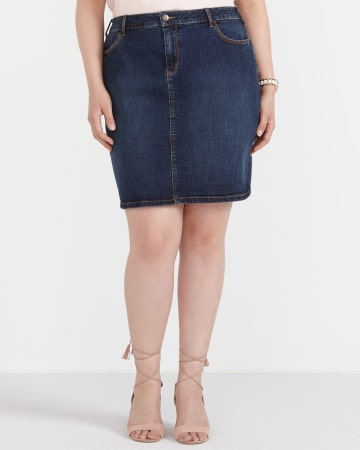 Plus Size Denim Skirt