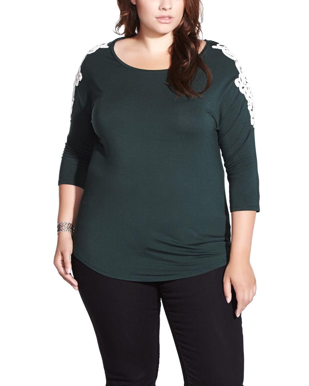 Plus size 3 4 sleeve t shirt plus sizes reitmans for Plus size 3 4 sleeve tee shirts