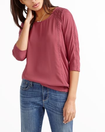 3/4 Sleeve Crochet T-Shirt