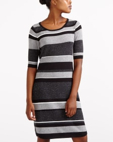 Elbow Sleeve Striped Dress
