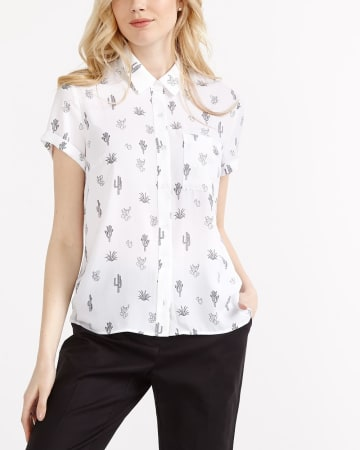 Willow & Thread Printed Short Sleeve Blouse
