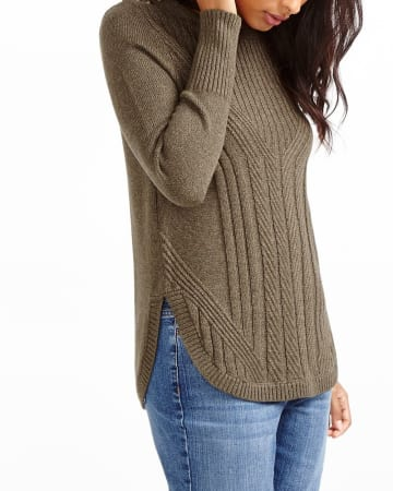 Rounded Hem Solid Sweater