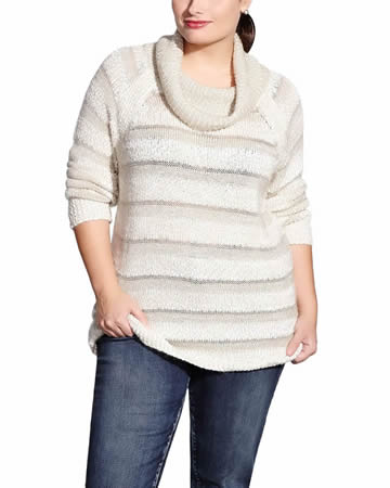 Plus Size Striped Cowl Neck Sweater