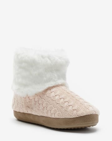 Fur-Lined Bootie Slippers