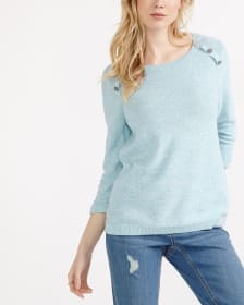 Solid 3/4 Sleeve Sweater