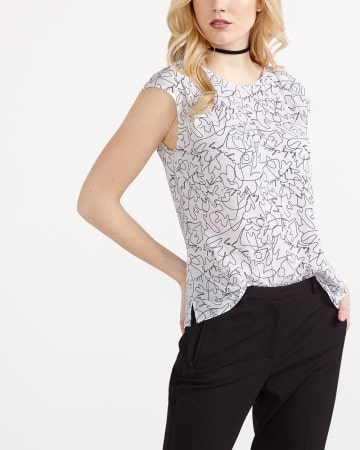 Willow & Thread Short Sleeve Printed Blouse