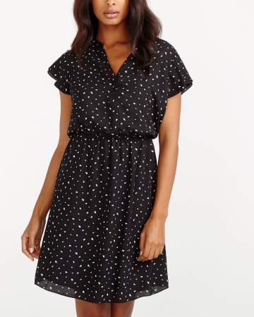 Ruffle Short Sleeve Printed Dress
