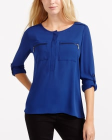 Blouse with Adjustable Sleeves and Zipper Pockets