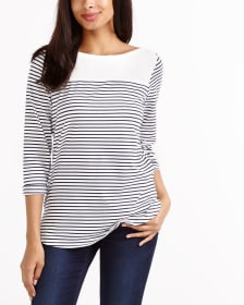 Solid Yoke Striped Top