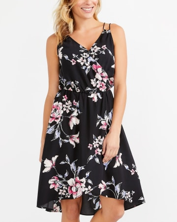 Sleeveless Fl Wrap Dress